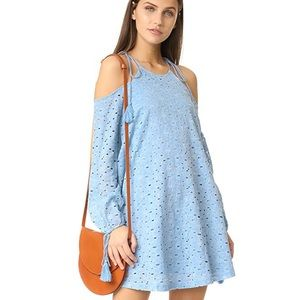 J.O.A. Chambray Lace Cold Shoulder Dress